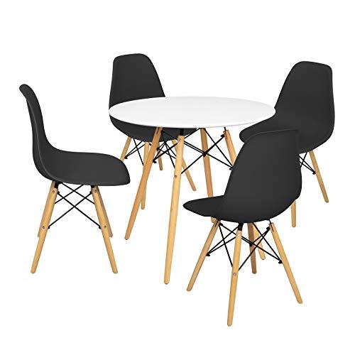 Onof Mesa Eames Minimalista Blanco 80cm y 4 Sillas Diseño Moderno (Negro)