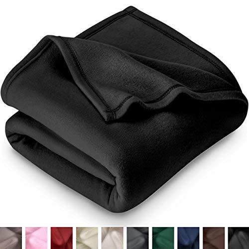 Bare Home Polar Fleece Blanket  Twin/Twin Extra Long  Warm Cozy  Hypoallergenic Premium PolyFiber Yarns  Thermal  Lightweight Bed Blanket Twin/Twin XL Black