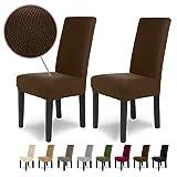 SCHEFFLER-Home Luna 2 Fundas de sillas, Estirable Cubiertas, Chenilla extraíble Funda con Banda elástica, Marrón