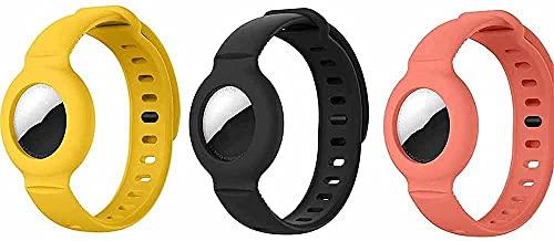 Braccialetto in silicone per Apple Airtag custodia protettiva GPS bambini bambini anti-perso - per Airtag, localizzatore di monitoraggio regolabile e Silicone, colore: B 3 pezzi.