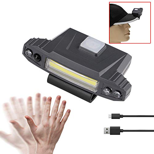 Ywoow Infrared Sensor Led USB Rechargeable Clip-Type Cap Light Outdoor Headlight, Sensor Cap Light Black US Warehouse Sent