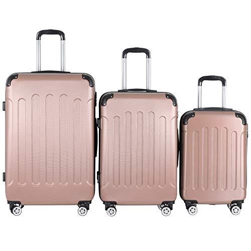 Juego de 3 Maletas con Ruedas - plástico ABS, 4 Ruedas, rígidas, candado TSA Elegir Oro Rosa S,M,L
