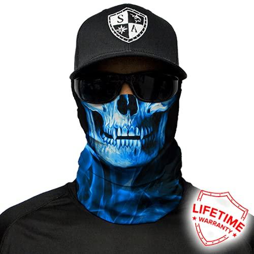 Buff - Plusieurs designs possibles - Foulard multifonction pour protéger du froid - Pour Halloween, le ski, le snowboard, la pêche, la chasse, le vélo, la moto, le paintball, Skull Tech Blue