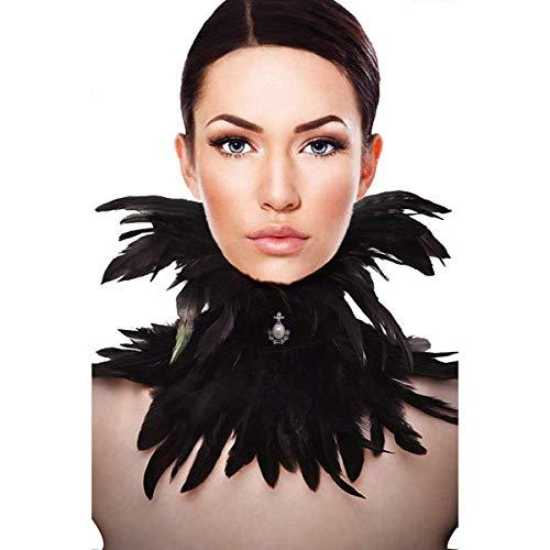 sigando Gothic Black Natürliche Feder Cape Umschlagtücher Schal Halsband Halloween (XIA)