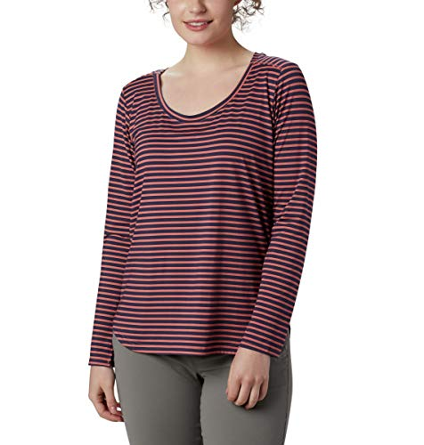 Columbia Firwood Camp T-Shirt à Manches Longues pour Femme, Femme, 1885274, Corail foncé à Rayures Moyennes, 2X
