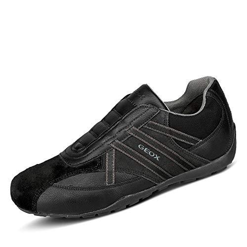 Geox U Ravex D Hombre Zapatillas de Piel Zapatos Casuales Ligeros y transpirables-Black-45