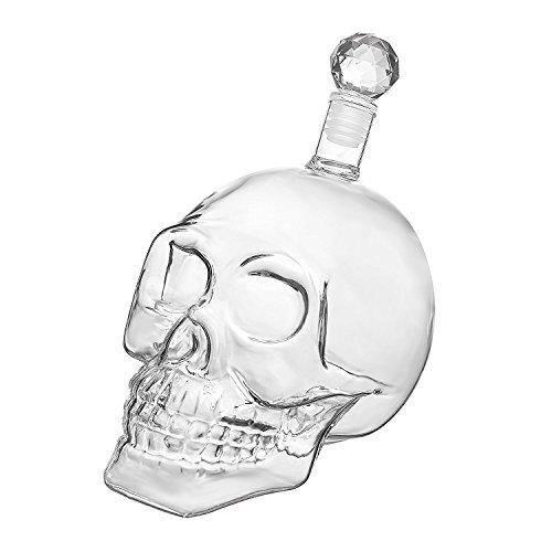 Calavera–Jarra de cristal con tapa, cráneo cristal–Decantador botellas de cristal (para whisky,...