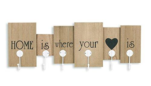 levandeo Wandgarderobe aus Holz mit 6 Haken in braun mit Schriftzug - Home is Where Your Heart is - 60x21x5 - Wanddekoration Dekoration Garderobe Wandhaken Wanddeko