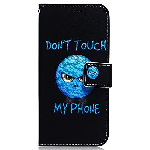 Blllue Capa carteira compatível com Huawei P20 Lite, capa protetora criativa de couro PU para Huawei P20 Lite, Anger