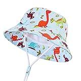 CAMLAKEE Sombrero Pescador Niño, Gorro Bebe para el Sol Protección UV Sombrero Verano de Playa Dinosaurio 48cm/6-12 meses