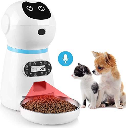 pedy Distributeur Croquettes Chat Automatique, 3,5 L Distributeur de Nourriture avec Enregistrement Vocal, LCD Écran, 4 Repas pour Chats et Chiens, Batterie ou Secteur d'alimentation