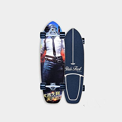VOMI Tabla Skate Carver Surfskate Completo Skateboard Carving Pumpping Arce Tablero, (Puente De Estructura De Resorte Más Flexible) Rodamientos De Bolas ABEC-11, para Principiantes Y Profesionales,A
