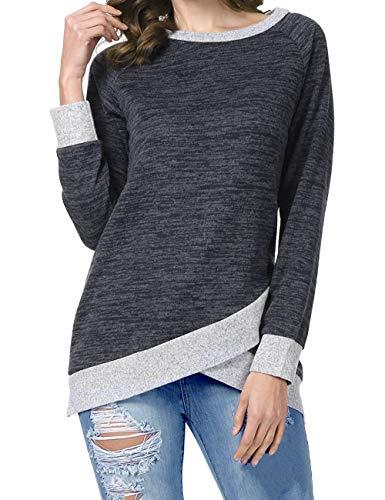 Odosalii Damen Langarm Patchwork Sweatshirt Pullover Casual T-Shirt Asymmetrisch Saum Tunika Tops,A_schwarz,L
