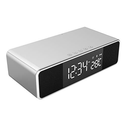 SODIAL Cargador InaláMbrico Reloj Despertador LED QI TeléFono de Carga InaláMbrica Altavoz Escritorio USB Relojes Digitales TermóMetro, Plata