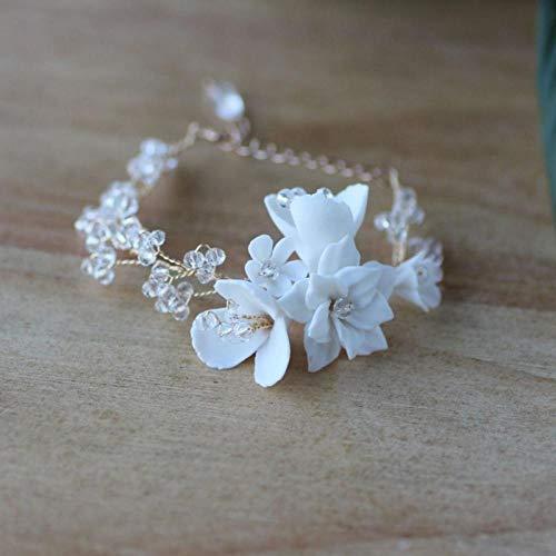 Encantador juego de collar y pendientes de porcelana con diseño de flores para novia, joyería hecha a mano, para mujer Pulsera.