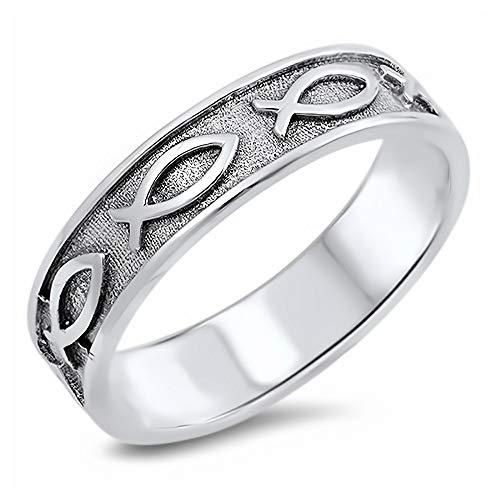 Gemlings Anillo de plata fina [Pez cristiano] | Regalo de la joyería