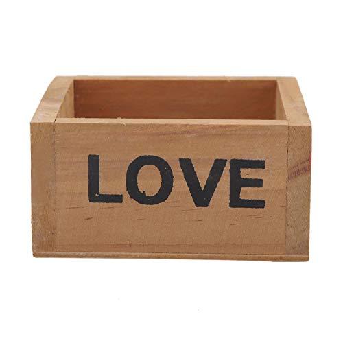 JULYKAI Boîte de Pot succulente carrée, boîte de Pot succulente en Bois Mini boîte décorative boîte à Fleurs boîte de Rangement Papeterie(Distressed)