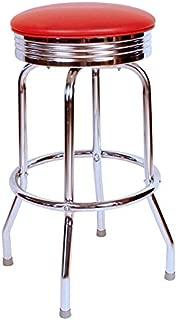 Richardson Seating Retro Chrome Swivel bar Stool with Seat Metal, 24