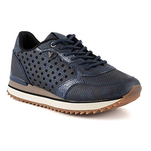 Zapatilla Sneaker Yumas Alisha Marino Fabricado en Piel sintética Plantilla Confort Látex para Mujer