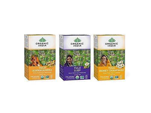 Organic India Calming Tulsi Herbal Tea Favorites - Ashwagandha, Honey Chamomile, Sleep - Adaptogen, Vegan, Gluten-Free, USDA Certified Organic, Non-GMO - 18 Infusion Bags per Box (Pack of 3)