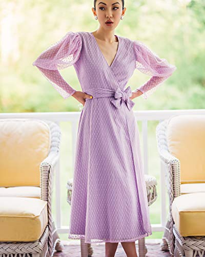 The Drop Women's Lavendula Ruched Long-Sleeve V-Neck Wrap Dress by @jessicawang