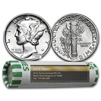 1916-1945 Silver Mercury Dime 50- Coin Roll Very Good