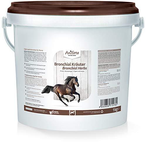 AniForte Bronchialkräuter Pferd 1kg - Natürliche Kräuter mit Methylcystein, bei Husten & Schnupfen, Unterstützung bei Atemwegsbeschwerden, Pferdekräuter als Ergänzungsfutter für freie Atemwege