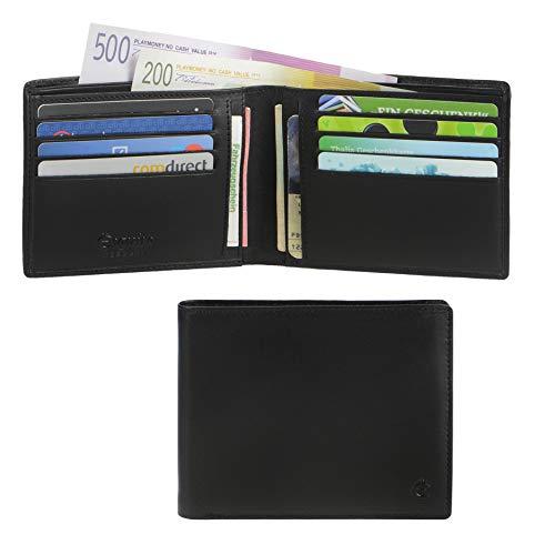 Esquire Geldbörse Slim Herren schwarz Leder flach Portemonnaie Kartengeldbörse
