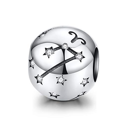 LaMenars Ciondolo a forma di segno zodiacale, in argento Sterling 925, compatibile con braccialetti e collane Chamilia e europei (Ariete: 3.21-4.19)
