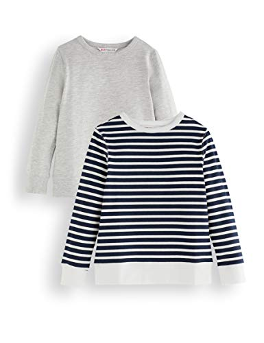Amazon-Marke: RED WAGON Jungen Sweatshirt, 2er-Pack, Mehrfarbig (Grey and Stripe), 110, Label:5 Years