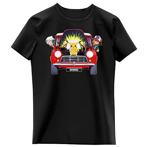 Okiwoki T-Shirt Enfant Fille Noir Parodie Pokémon - Pikachu, Sasha et Aurore - Pika dépannage (T-Shirt Enfant de qualité Premium de Taille 3-4 Ans - imprimé en France)