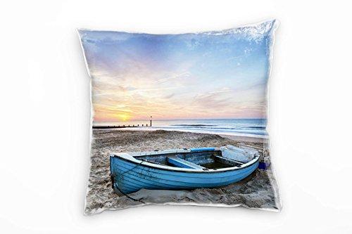 Paul Sinus Art Strand en zee, bruin, blauw, verlaten boot decoratief kussen 40x40 cm voor bank sofa lounge sierkussen - decoratie om je goed te voelen