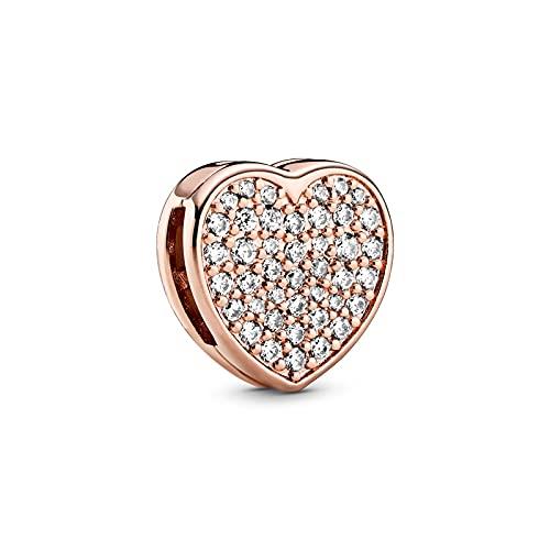 LIIHVYI Pandora Charms para Mujeres Cuentas Plata De Ley 925 Pave Heart Clip Circón Cúbico Compatible con Pulseras Europeos Collars