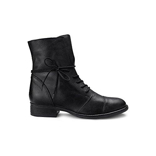 Cox Damen Schnür-Boots aus echtem Leder, Schwarze Freizeit Stiefel mit robuster Laufsohle Schwarz Leder 37