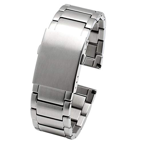 ZZDH Correas Relojes Acero Inoxidable 22 mm 24 mm 26 mm 28 mm 30 mm Strap de Reloj de Acero Inoxidable Hombres Metal Pulsera de muñeca sólida (Band Color : A Silver, Band Width : 30mm)