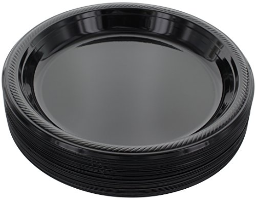 Amcrate Black Disposable Plastic Party Plates 10.4 - Ideal for Weddings, Party