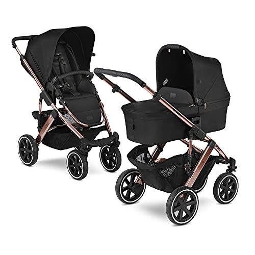 ABC Design 2in1 Kinderwagen Salsa 4 Air – Kombikinderwagen für Neugeborene & Babys – inkl. Sportsitz Buggy & Babywanne – Radfederung & Luftreifen – Farbe: rose gold