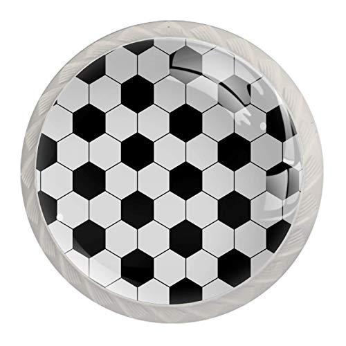 Drawer Knobs for Kids Soccer Black White Dresser Knobs Colorful Designed Round Cabinet Knobs 4Pcs for Living Room Bedroom Bathroom Kitchen 3.5×2.8CM