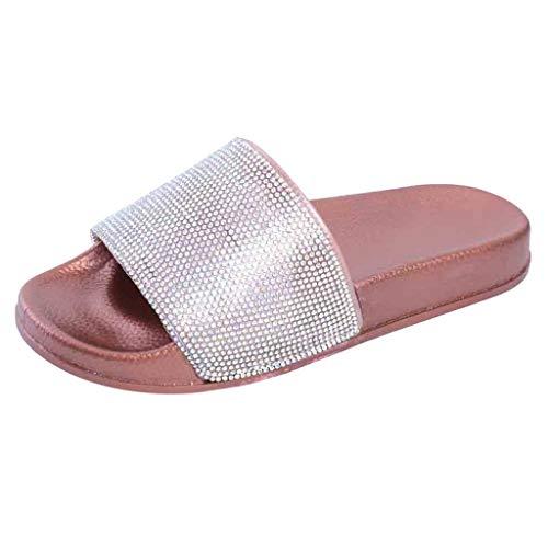 ZIYOU Damen Hausschuhe Fläche Sandalen Frauen Freizeit Glänzend Bunte Slippers Casual Sandals (Rosa,40 EU)