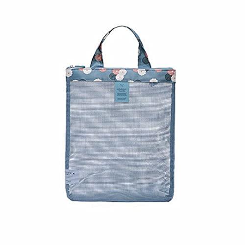 Borsa estiva da spiaggia per costume da bagno borsa con cerniera a rete per nuoto, fitness e spiaggia (blu)
