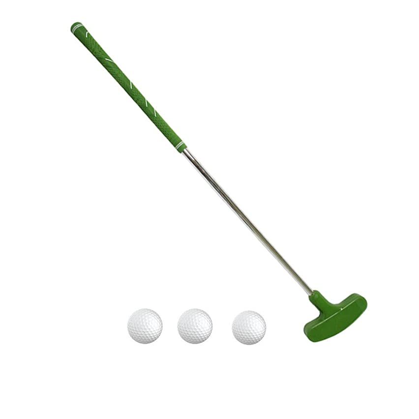 PLAYEAGLE Green Color Two-Way Rubber Head Kids Putter Clubs Junior Golf Putter with 3 pcs Golf Ball