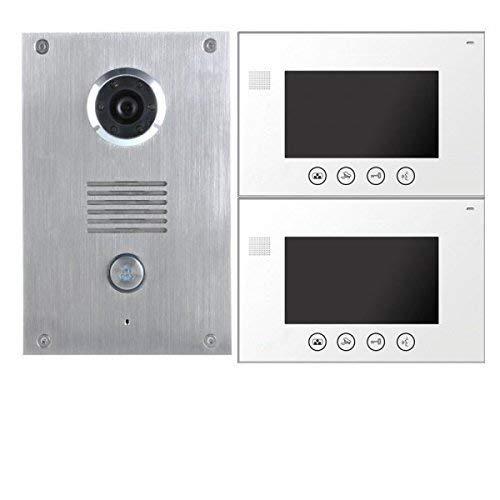 2 Draht Video Türsprechanlage Gegensprechanlage 7'' Monitor Klingel Farb Kamera (weiss 2 Monitore)