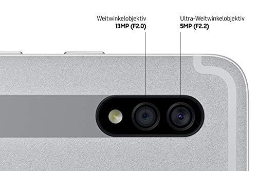 Samsung Galaxy Tab S7+, Android Tablet mit Stift, WiFi, 3 Kameras, großer 10.090 mAh Akku, 12,4 Zoll Super AMOLED Display, 256 GB/8 GB RAM, Tablet in silber