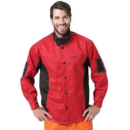 Chaqueta de soldadura, resistente al fuego/calor y a la abrasión, tejido ignífugo, de algodón, prenda de protección - - X-Large
