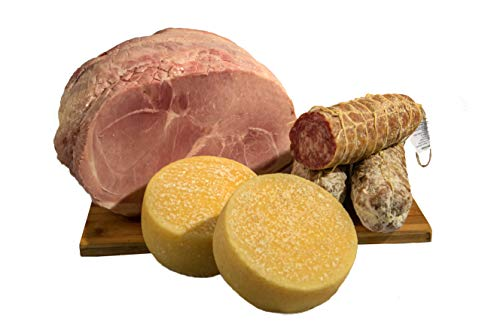 """Italienisch Paket mit einheimischen Produkten aus Pizzoccheros Bauernhof aus Bergamo - Salami, Käse """"Formagella"""" und 1 Stück hochwertigen Kochschinkens"""