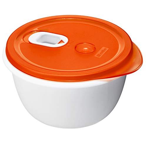 Rotho Micro Clever, Tazón de microondas de 1.6l con tapa y válvula, Plástico PP sin BPA, rojo, blanco, 1.6l 19.0 x 19.0 x 10.5 cm