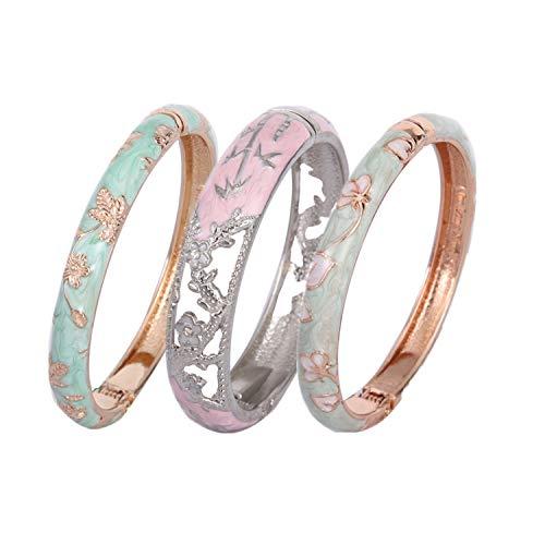 Enamel Bangle for Women, Handmade Floral Vintage Bracelet for Lady, Jewellery Gift - 3 Pcs