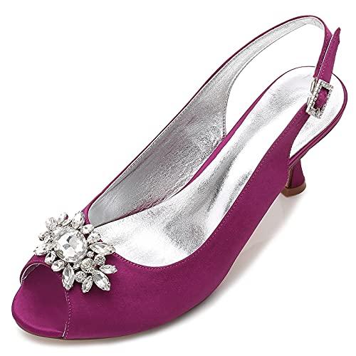 Bombas De Mujer Peep Toe 7Cm Tacones Bajos Prom Satén Zapatos De...