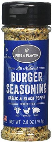 FIRE & FLAVOR Burger Seasoning, Garlic & Black Pepper, 2.8 Ounce