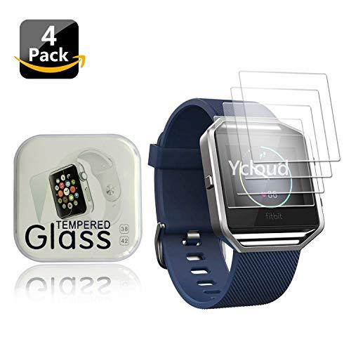 Ycloud [4 Stück Panzerglas Folie Schutzfolie Bildschirmschutzfolie für Fitbit Blaze Smartwatch mit Festigkeitgrad 9H, 0,26mm Ultra-Dünn, Abger&ete Kanten